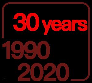 30 årslogga vit genomskinlog engelska